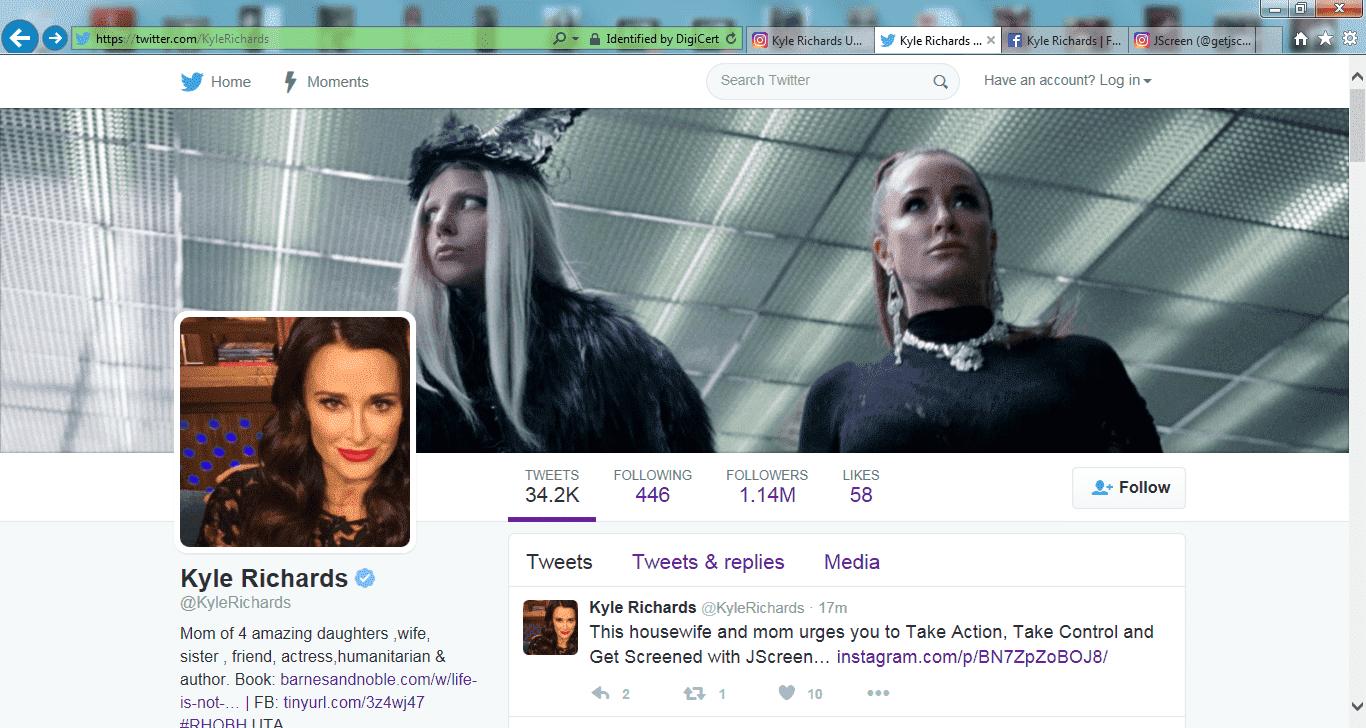 Twitter Kyle Richards Screenshot